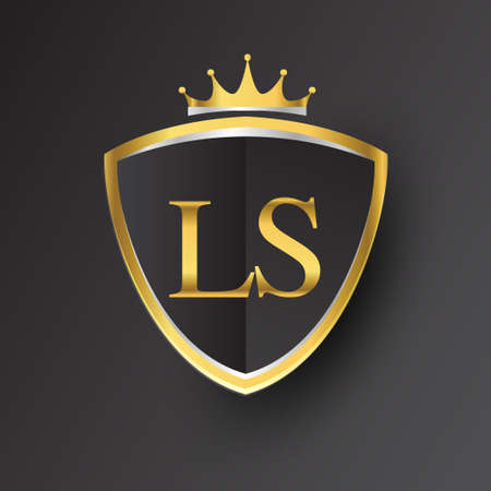 Initial logo letter LS with shield and crown Icon golden color isolated on black background, logotype design for company identity.
