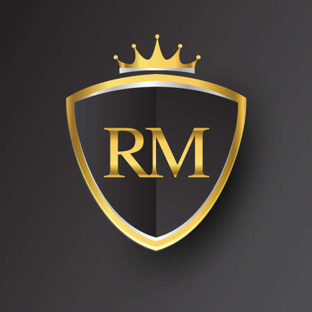 Initial logo letter RM with shield and crown Icon golden color isolated on black background, logotype design for company identity.
