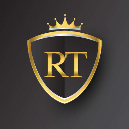 Initial logo letter RT with shield and crown Icon golden color isolated on black background, logotype design for company identity. Logó