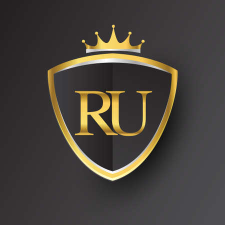 Initial logo letter RU with shield and crown Icon golden color isolated on black background, logotype design for company identity.