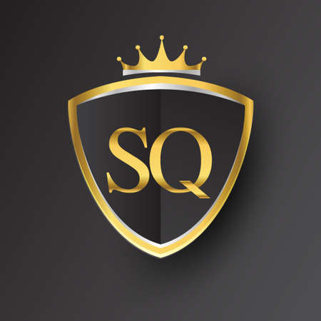 Initial logo letter SQ with shield and crown Icon golden color isolated on black background, logotype design for company identity.