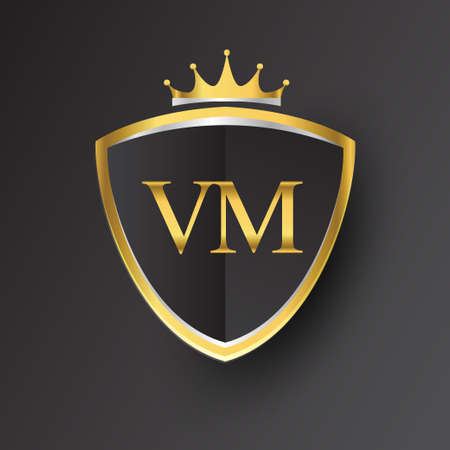 Initial logo letter VM with shield and crown Icon golden color isolated on black background, logotype design for company identity.