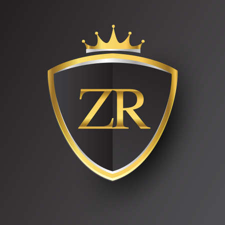 Initial logo letter ZR with shield and crown Icon golden color isolated on black background, logotype design for company identity. Logó