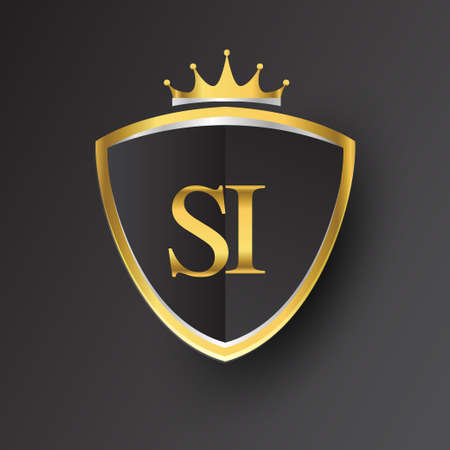 Initial logo letter SI with shield and crown Icon golden color isolated on black background, logotype design for company identity.