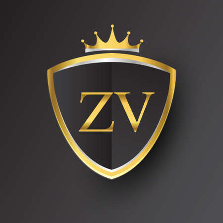 Initial logo letter ZV with shield and crown Icon golden color isolated on black background, logotype design for company identity. Logo