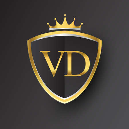 Initial logo letter VD with shield and crown Icon golden color isolated on black background, logotype design for company identity.