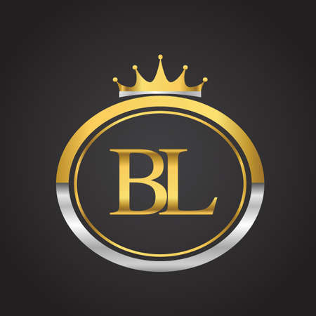 initial letter BL logotype company name with oval shape and crown, gold and silver color. vector logo for business and company identity.