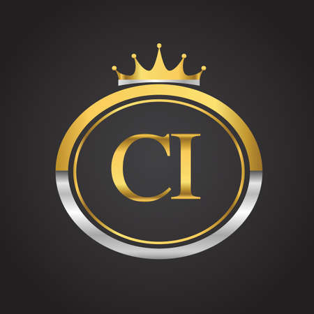 initial letter CI logotype company name with oval shape and crown, gold and silver color. vector logo for business and company identity. Illusztráció