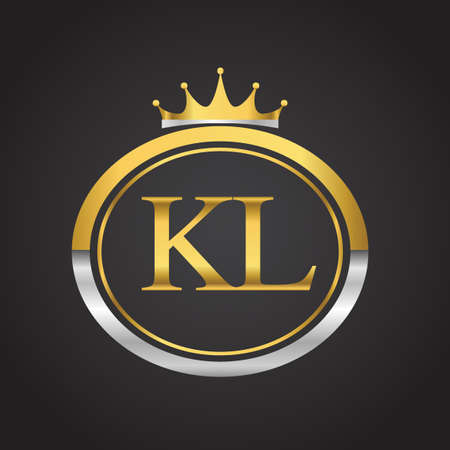 initial letter KL logotype company name with oval shape and crown, gold and silver color. vector logo for business and company identity. Ilustrace