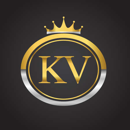 initial letter KV logotype company name with oval shape and crown, gold and silver color. vector logo for business and company identity. Logó