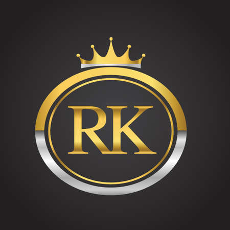 Initial symbol letter RK with shield and crown Icon golden color isolated on black background design for company identity. Vektoros illusztráció