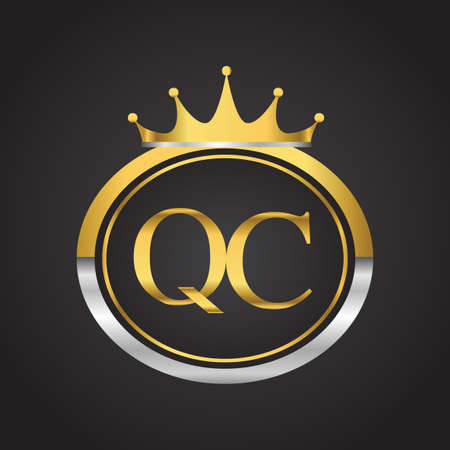 Initial symbol letter QC with shield and crown Icon golden color isolated on black background design for company identity.