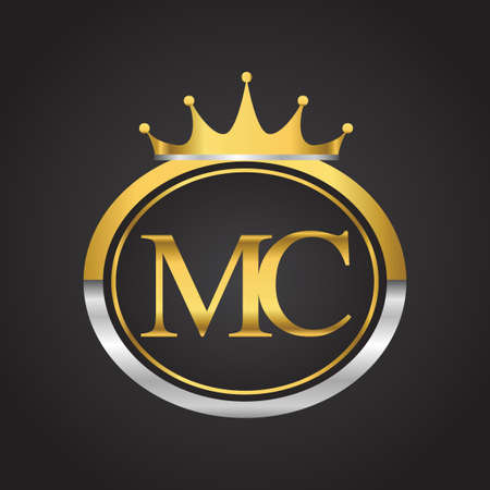 initial letter MC logotype company name with oval shape and crown, gold and silver color. vector logo for business and company identity.