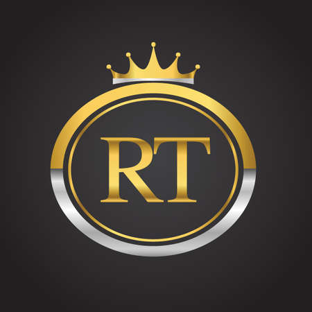 initial letter RT logotype company name with oval shape and crown, gold and silver color. vector logo for business and company identity. Logó