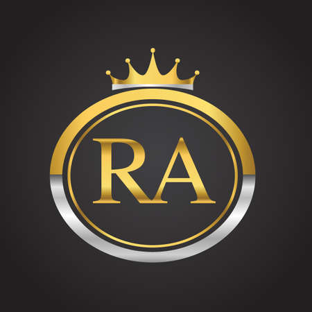 initial letter RA logotype company name with oval shape and crown, gold and silver color. vector logo for business and company identity.