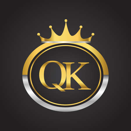 initial letter QK logotype company name with oval shape and crown, gold and silver color. vector logo for business and company identity. 向量圖像