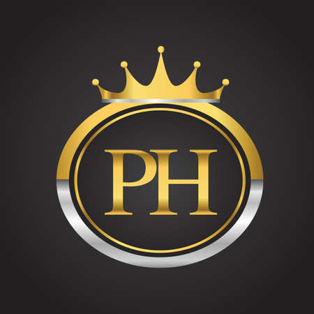 initial letter PH logotype company name with oval shape and crown, gold and silver color. vector logo for business and company identity.