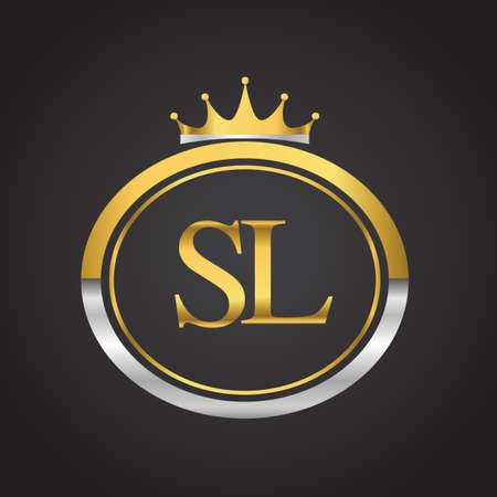 initial letter SL logotype company name with oval shape and crown, gold and silver color. vector logo for business and company identity.