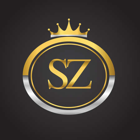initial letter SZ logotype company name with oval shape and crown, gold and silver color. vector logo for business and company identity. Logo