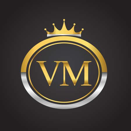 initial letter VM logotype company name with oval shape and crown, gold and silver color. vector logo for business and company identity.