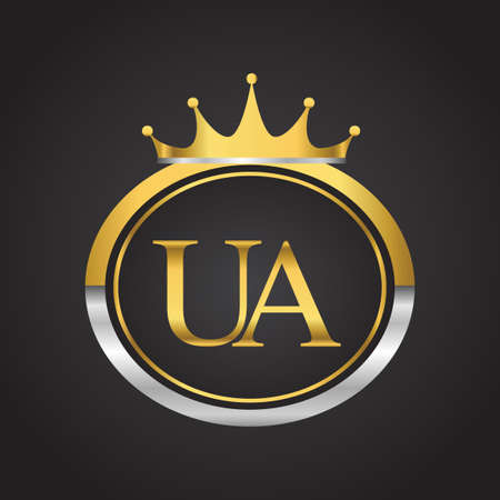 initial letter UA logotype company name with oval shape and crown, gold and silver color. vector logo for business and company identity. 向量圖像