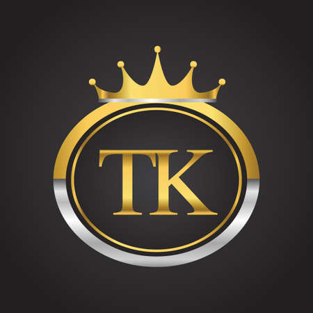 initial letter TK logotype company name with oval shape and crown, gold and silver color. vector logo for business and company identity.