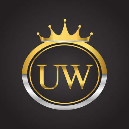 initial letter UW logotype company name with oval shape and crown, gold and silver color. vector logo for business and company identity.
