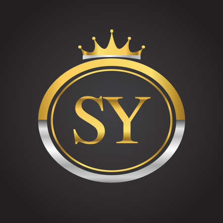 initial letter SY logotype company name with oval shape and crown, gold and silver color. vector logo for business and company identity.