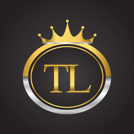 initial letter TL logotype company name with oval shape and crown, gold and silver color. vector logo for business and company identity.