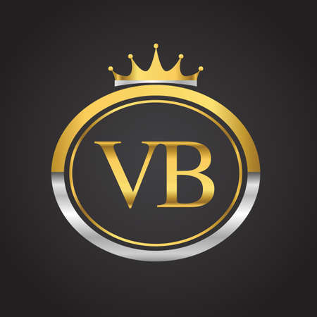 initial letter VB logotype company name with oval shape and crown, gold and silver color. vector logo for business and company identity. 向量圖像