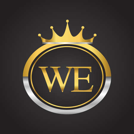 initial letter WE logotype company name with oval shape and crown, gold and silver color. vector logo for business and company identity. 向量圖像