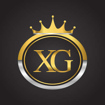 initial letter XG logotype company name with oval shape and crown, gold and silver color. vector logo for business and company identity.