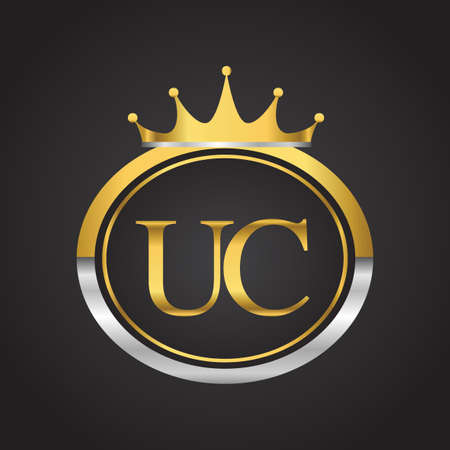 initial letter UC logotype company name with oval shape and crown, gold and silver color. vector logo for business and company identity.