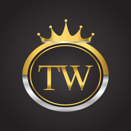 initial letter TW logotype company name with oval shape and crown, gold and silver color. vector logo for business and company identity.