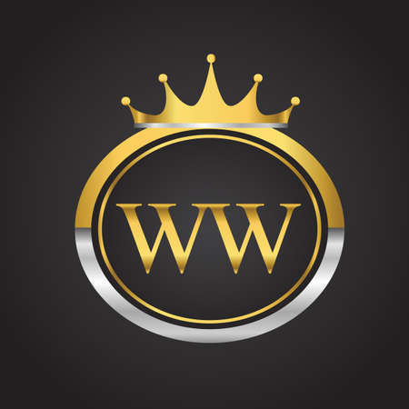 initial letter WW logotype company name with oval shape and crown, gold and silver color. vector logo for business and company identity. 向量圖像