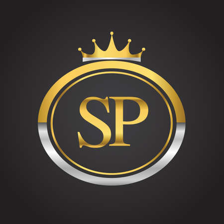 initial letter SP logotype company name with oval shape and crown, gold and silver color. vector logo for business and company identity.