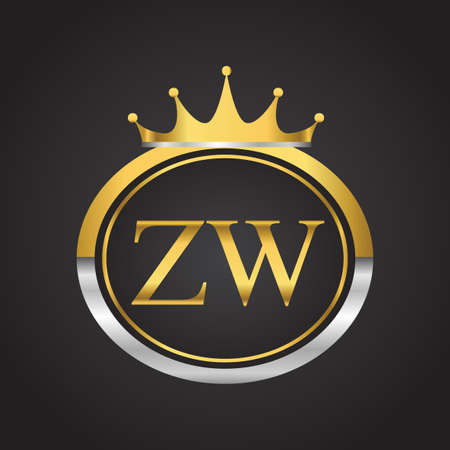 initial letter ZW logotype company name with oval shape and crown, gold and silver color. vector logo for business and company identity.