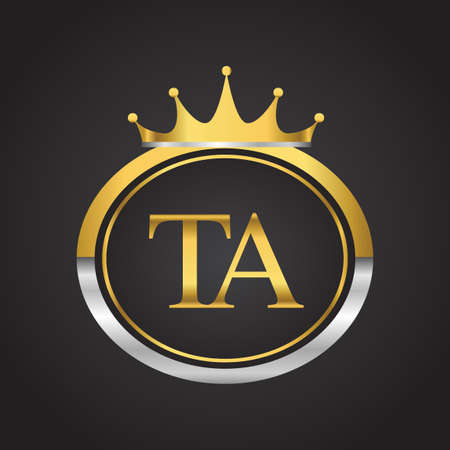 initial letter TA logotype company name with oval shape and crown, gold and silver color. vector logo for business and company identity.