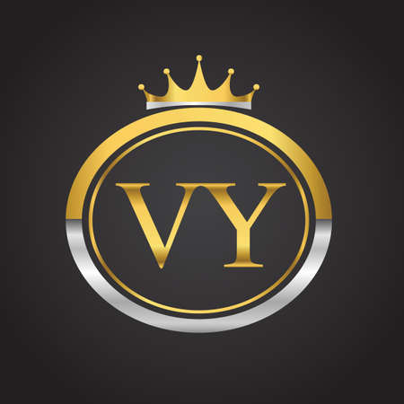 initial letter VY logotype company name with oval shape and crown, gold and silver color. vector logo for business and company identity.