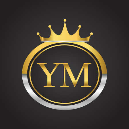 initial letter YM logotype company name with oval shape and crown, gold and silver color. vector logo for business and company identity.