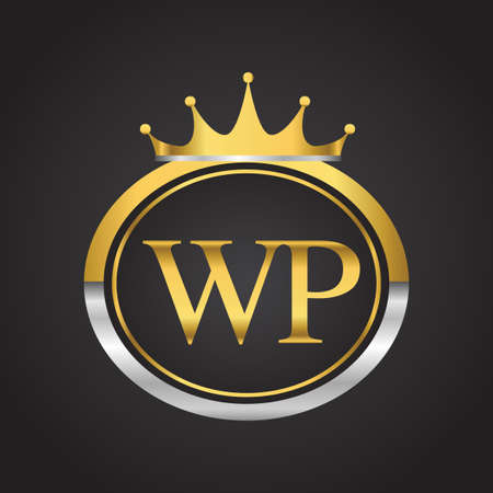 initial letter WP logotype company name with oval shape and crown, gold and silver color. vector logo for business and company identity.
