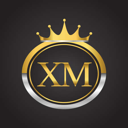 initial letter XM logotype company name with oval shape and crown, gold and silver color. vector logo for business and company identity.