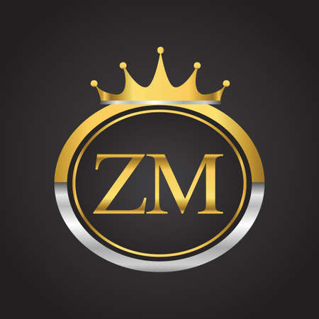 initial letter ZM logotype company name with oval shape and crown, gold and silver color. vector logo for business and company identity.