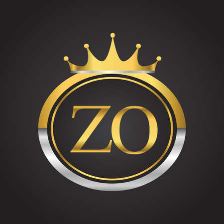 initial letter ZO logotype company name with oval shape and crown, gold and silver color. vector logo for business and company identity. Logo