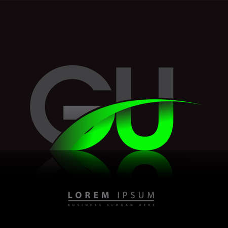 initial letter GU logotype company name colored green and black swoosh design. vector logo for business and company identity.