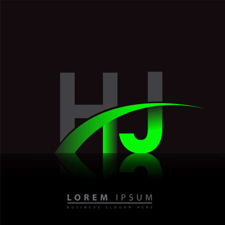 initial letter HJ logotype company name colored green and black swoosh design. vector logo for business and company identity.