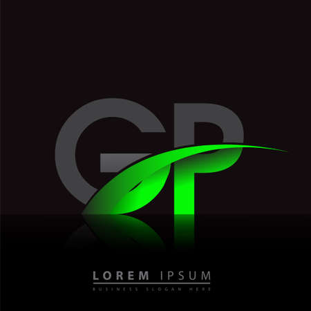 initial letter GP logotype company name colored green and black swoosh design. vector logo for business and company identity.