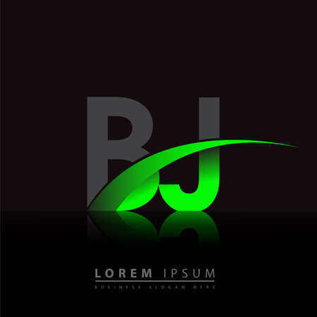 initial letter BJ logotype company name colored green and black swoosh design. vector logo for business and company identity. Logó