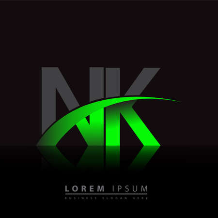 initial letter NK company name colored green and black swoosh design. vector   for business and company identity.
