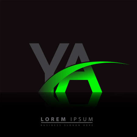 initial letter YA company name colored green and black swoosh design. vector for business and company identity. 向量圖像